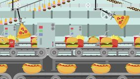Cartoon Junk Food Factory Filled with different kind of Fast Food stock video