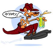 Cartoon kangaroo with beer. Cartoon caricature of kangaroo wearing shoes, hat and pants holding can of beer with text g'day Stock Photography