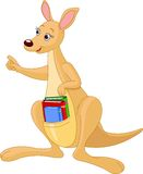 Cartoon Kangaroo and books Stock Image