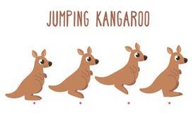 Cartoon kangaroo jumping. Cute cartoon kangaroo jumping animation frames. Simple modern cartoon illustration Royalty Free Stock Photo
