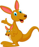 Cartoon kangaroo waving and carrying a cute Joey Royalty Free Stock Photos