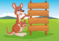 Cartoon Kangaroo and wooden sign Stock Photo