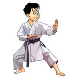 Cartoon karate boy dressed in a kimono standing in rack Stock Image
