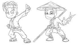 Cartoon karate boy and ninja character vector set Stock Image