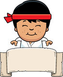 Cartoon Karate Kid Banner Stock Photo