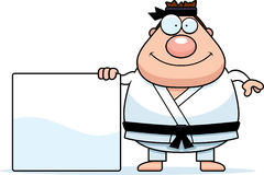 Cartoon Karate Man Sign Royalty Free Stock Photography