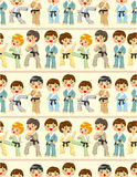 Cartoon Karate Player seamless pattern. Drawing Stock Photography