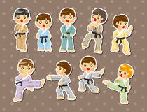 Cartoon Karate Player stickers Stock Images