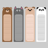 Cartoon kawaii baby bear, cat, dog, panda. Animal head set. Bookmark paper sticker collection. Notepad template. Flat design. Gray Vector Illustration