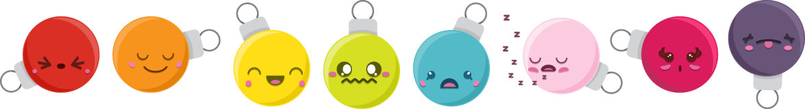 Cartoon Kawaii Bauble Set Royalty Free Stock Photo
