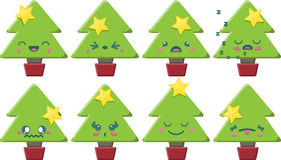 Cartoon Kawaii Christmas Tree Set Royalty Free Stock Images