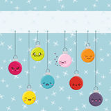 Cartoon Kawaii Hanging Baubles Royalty Free Stock Photos