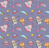 Cartoon kawaii outer space seamless pattern royalty free illustration