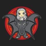 Cartoon, kawaii vector illustration of Daenerys Targaryen and dragon stock image