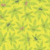 Cartoon kawaii weed seamless vector pattern green Stock Image
