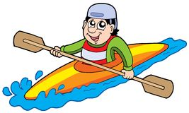 Cartoon kayaker Royalty Free Stock Photo