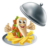 Cartoon Kebab and French Fries Stock Photography