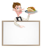 Cartoon Kebab Waiter Sign Royalty Free Stock Photos