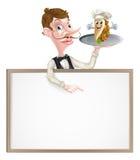 Cartoon Kebab Waiter Signboard Stock Images
