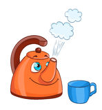 Cartoon kettle with boiling water with eyes and a cup Royalty Free Stock Photography