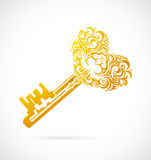 Cartoon key with heart Royalty Free Stock Images