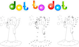 Cartoon kid angel. Coloring book and dot to dot game for kids Stock Photography