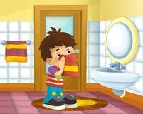 Cartoon kid in the bathroom - boy Stock Images