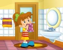 Cartoon kid in the bathroom - girl Royalty Free Stock Photo