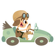 Cartoon kid boy with hat and eyeglasses driving retro car. Funny cartoon happy boy with big smile and hat having a ride with his green antique vintage car Royalty Free Stock Photo