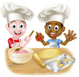 Cartoon Kid Chefs Cooking Stock Photo