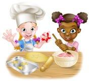 Cartoon Kid Chefs Cooking Stock Image