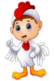 Cartoon kid in a chicken costume giving thumbs up. Illustration of Cartoon kid in a chicken costume giving thumbs up Royalty Free Stock Photos