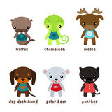 Cartoon kid or child animals with smiley faces. Cartoon moose or deer, walrus baby or forest morse, elk or reindeer, dog and white or polar bear, jungle panther Royalty Free Stock Image