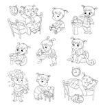 Cartoon Kid Daily Routine Activities Set Stock Photo