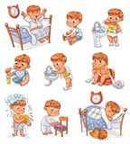 Cartoon Kid Daily Routine Activities Set Royalty Free Stock Images