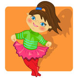 Cartoon kid dancing  illustration.cute girl Royalty Free Stock Photo