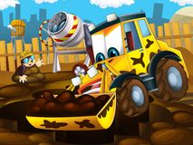 The cartoon kid digger - illustration for the children Stock Photography