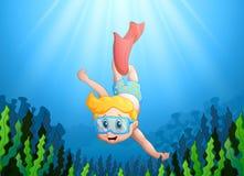 Cartoon kid diving underwater Royalty Free Stock Photo