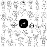 Cartoon kid girls characters set color book. Black and White Cartoon Illustration of Elementary Age Girls Children or Teenager Characters Group Huge Set Coloring Stock Photography