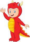 Cartoon kid with Halloween dragon costume royalty free illustration