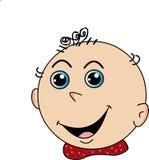 Cartoon kid happy smiling face, vector image stock illustration
