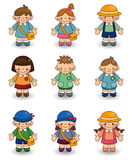 Cartoon kid icon set. Vector drawing Stock Image