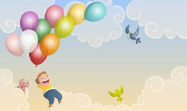 Cartoon kid illustration flying with balloons Stock Photography