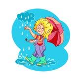 Cartoon kid playing in the rain. Vector illustration. Royalty Free Stock Photos
