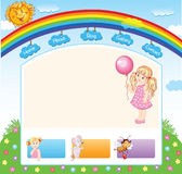 Cartoon kid rainbow template Royalty Free Stock Images