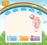 Cartoon kid rainbow template Royalty Free Stock Images