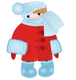 Cartoon kid in red vector Royalty Free Stock Image