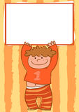 Cartoon kid with sign Royalty Free Stock Images
