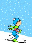 Cartoon kid skiing Stock Image