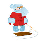 Cartoon kid with sled vector Stock Images